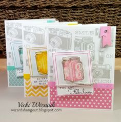 This fun card set uses the CTMH April SOTM Life In Pictures stamp set. by Vicki Wizniuk