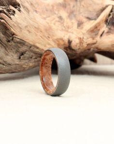 Size 7.5 - Titanium Lined with Black Ash Burl Wood Ring Titanium Ring on Etsy, $235.00 {Bobby's wedding band}