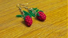 Sweet raspberries polymer clay earrings by kittyD