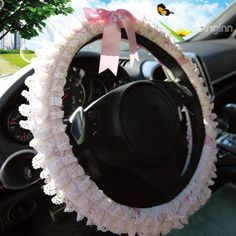 New Arrrival Lovely Princess Style Lace Borders Sterring Wheel Cover @bedding inn