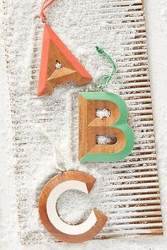 Woodshop Monogram Ornament #anthropologie