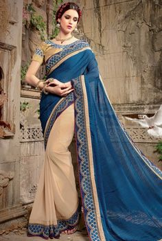 Gorgeous Beige and Blue Saree