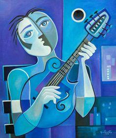 Cubist Painting Abstract Original Oil on canvas por MarlinaVera