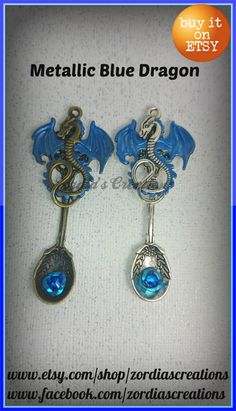 Dragon Spoon Pendants fantasy jewelry Gothic by ZordiasCreations
