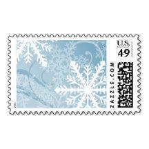 Blue White Snowflakes Postage Stamp