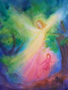 Guardian Angel -Irma Stropeni, prophetic art painting in pastel colors. Angel Images, Angel Pictures, Wet On Wet Painting, Prophetic Art, Angels Among Us, Angel Art, Sacred Art, Pretty Art, Fiber Art