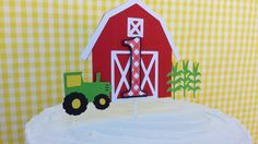 Farm Birthday Cake Topper - Red Barn Bash Theme - Any Age Cake topper - 1st birthday Party - John Deere Inspired Cake by EMTsweeetie on Etsy https://www.etsy.com/listing/160232911/farm-birthday-cake-topper-red-barn-bash