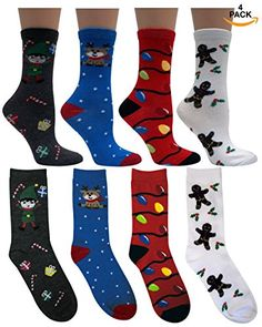 "Women's Fun and Colorful ""Holiday"" Crew Sock 4 pair, ,Xma…"