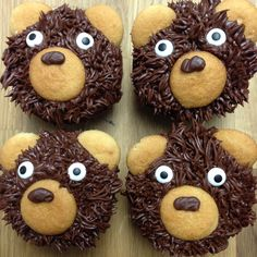 pancake of the week Teddy Bear Cupcakes, Animal Cupcakes, Cute Cupcakes, Teddy Bear Birthday, Baby Birthday, Birthday Ideas, Baby Shower Themes, Baby Boy Shower, Bear Party
