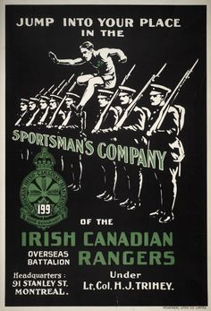Jump into your place in the Sportsman's Company of the Irish Canadian Rangers Overseas Battalion