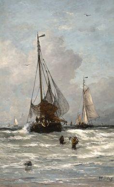 Hendrik Willem Mesdag | 1831 - 1915 - The Return of the Fishing Boats - De thuiskomst van de vissersvloot in Scheveningen