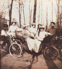 Alexei, Tatiana, Alexandra, Olga, Maria, Anastasia, and Nicholas in the park …