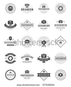 Photographer Logo Templates Set. Vector Design Element Vintage Style for Logotype, Label, Badge, Emblem. Photography Logo, Photo Camera Logo, Photo Studio Logo, Photo Camera Icon, Logo Vector. - stock vector