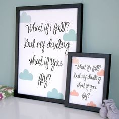 A lovely typographic quote set amongst the cloudsAvailable in 2 colourways - pale green and soft peachThis whimsical typographic nursery print delivers a lovely message about positive thinking. Print reads - What if i fall? But my darling what if you fly? We have used an informal playful font and injected some colour with some handrawn clouds. This range of prints is designed with the young in mind, eye catching, motivational and fun whilst still appealing to the style savvy parent. All our…