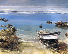 Art by André Deymonaz Landscape Art, Landscape Paintings, Landscapes, Oil Painting On Canvas, Painting Frames, Art Plage, Small Sailboats, Sailboat Painting, Z Arts
