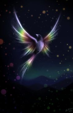 It looks like a phoenix with rainbow as wings. Fantasy Kunst, Fantasy Art, Fantasy Creatures, Mythical Creatures, Vogel Gif, Art Fractal, Wow Art, Angel Art, Beautiful Birds