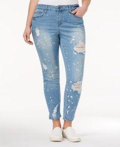 Juniors' Plus Size Hydraulic Emma Ripped Cuffed Skinny Jeans ...
