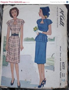 30%OffPatterns McCall 6377 1940s 40s Dress by EleanorMeriwether