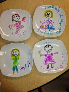 Simple plate for Mom or Grandmom.  Use permenant markers on Dollar Store Plate.  Put plate in cool oven. Turn oven on to 350.  After 40 minutes, turn off  oven and let plates cool in oven.  Adorable!!