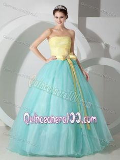 Aqua Blue and Yellow Sash Quinceanea Dress with Ruching Bodice