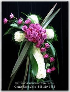 Cross White Carnation Lavendar Roses San Francisco Funeral Flowers Com Sympathy Flower Arrangements From Grave Flowers, Cemetery Flowers, Church Flowers, Funeral Flowers, Wedding Flowers, Arrangements Funéraires, Funeral Floral Arrangements, White Carnation, White Roses
