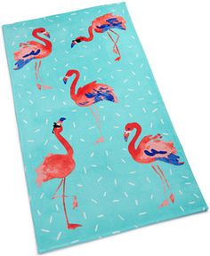Martha Stewart Collection Flamingo Sprinkle Cotton Graphic-Print Beach Towel, Created for Macy's Bedding Flamingo Beach Towel, Flamingo Decor, Flamingo Party, Outdoor School, Furniture For Small Spaces, Cotton Towels, Pink Flamingos, Martha Stewart, Graphic Prints