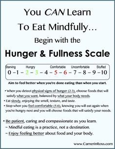 You CAN Learn Mindful Eating~ Hunger & Fullness Scale || Pinned by CamerinRoss.com
