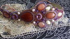 Купить повязка для волос - коричневый, фиолетовый, повязка для волос, украшение для волос, обруч на голову