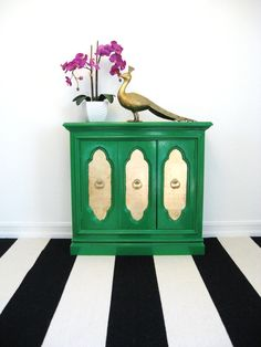 Vintage HOLLYWOOD REGENCY Emerald GREEN and Gold Mini Credenza Cabinet Bar.  - I can do this!  But maybe in royal blue and silver instead