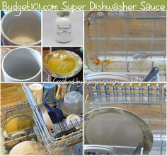 Mom's Automatic Dishwasher Supreme Sauce- cleans even dried Egg Yolk off dishes naturally, without harsh chemicals. This Dirt Cheap, DIY, MYO recipe is tried and true and doesn't leave a film on your dishes (Click on photo for Recipe)