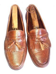 Florsheim Men's Brown Leather Dress Shoe Loafer Tassle Kiltie Sz 9D #florsheim #LoafersSlipOns