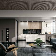 Bucătăriile open space sunt gândite ca soluții eficiente pentru spații cu provocări speciale, fie cu dimensiuni prea mici, fie prea mari. Ideea principală este să reducem din volume pentru a permite o deschidere a câmpului vizual și să integrăm bucătăria cu spațiul de dining room și living room. Living, Conference Room, Kitchen, Table, Furniture, Home Decor, Cooking, Decoration Home, Room Decor