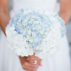 Blue and White Hydrangea Bridal Bouquet