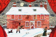 Jane Austen - carte de Noël - neige traditionnelle Scene - chat - chien - maisons d