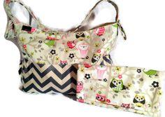 TRENDY Diaper Bag Set/ Diaper Clutch/ Baby Shower Gift/ Owl diaper bag/ chevron diaper bag