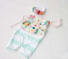 Spring Melody - Sitter shortall romper mint & white stripes with floral front in peach, pink, red, orange, teal, aqua, yellow, fuchsia (RTS) by SoTweetDesigns on Etsy