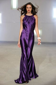 Purple satin gown from Marc Bouwer