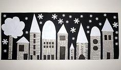Houses, collage with newspaper, street view at night, crafts with c … - Winter Art Winter Art Projects, Winter Project, School Art Projects, Journal D'art, Arte Elemental, Classe D'art, Newspaper Art, Kindergarten Art, Art Classroom