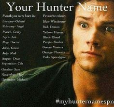supernatural dean winchester sam winchester castiel spn test cas winchester cass sammy *-* supernatural test <<< my name is Holly Winchester! I'm a Winchester! Dean Winchester Supernatural, Supernatural Memes, Supernatural Tattoo, Supernatural Wallpaper, Dean Winchester Imagines, Sam Dean, Castiel, Angel Demon, Hunter Name