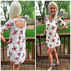 Stunning white floral hi lo tunic-LAST ONE V neck 3qtr sleeves rounded hi lo cut with pretty dip in back in beautiful floral print! Follow me on Instagram for more looks😊 @kfab333 Tops Tunics
