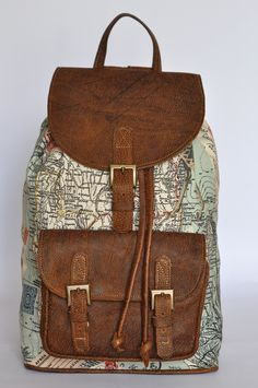 Genuine leather and world map atlas print bag by doubleedge genuine leather and africa print backpack gumiabroncs Images
