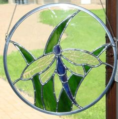 Dragonfly Round Stained Glass Suncatcher by fireflysg on Etsy