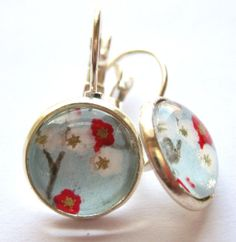 Cherry Blossom Sky Earrings by Glassology on Etsy, $14.00