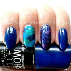 Braided/Fishtail Nail #nailart #bluenails #sparkle  - bellashoot.com