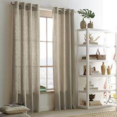 Linen Cotton Grommet Window Panel – Flax   west elm