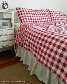 farmhouse musings: Red Checked Bedding adds Bright Country Cheer