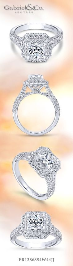 Gabriel NY - Voted #1 Most Preferred Fine Jewelry and Bridal Brand. 14k White Gold Princess Cut Double Halo  Engagement Ring