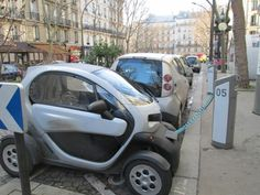 paris montmartre electric car recharging and tiny car parking style