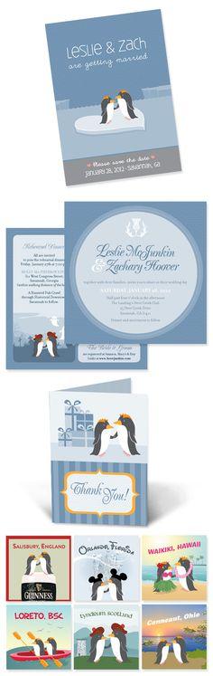 Crème Fraiche Design Journal - Penguins In Love Wedding invitations. Salisbury, England, Orlando, Florida, Waikiki, Hawaii, Loreto, BSC, Tyndrum, Scotland, Conneaut, Ohio