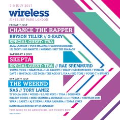 The weekend of 7-9th July sees Finsbury Park hosting Wireless with Chance the Rapper, Skepta, The Weeknd and more already announced, tickets are going to go fast – get yours here: http://festivallers.co.uk/wireless